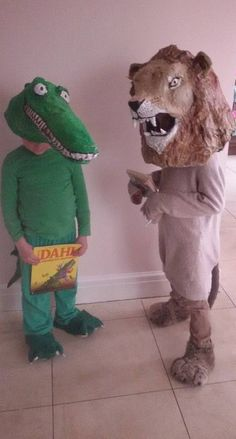World Book Day fancy dress Costumes. Aslan and The Enormous Crocodile. Papier Mache headgear.