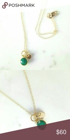 Birthstone Emerald Personalized Gold Necklace Super delicate and chic, I can personalize the little tag with an initial. Genuine emerald and gold filled chain, it will never tarnish  Perfect for those with a birthday in May!   This is a great gift and furthermore all my jewellery is beautifully giftwrapped free of charge  Jewelry Necklaces