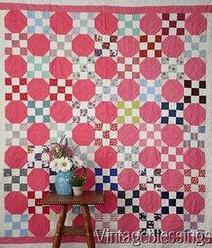 "Pretty in Pink! Vintage 1930-40s Snowball Nine Patch QUILT 78"" x 68"""