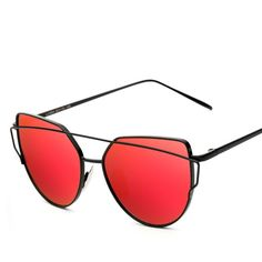 7ed4c3d7b2 New Fashion Cat Eye Sunglasses Women Brand Designer Twin-Beam Mirror Lens  Sun Glasses Rose