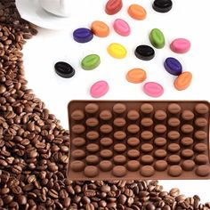 55 Holes Coffee Bean Chocolate Silicone Mold
