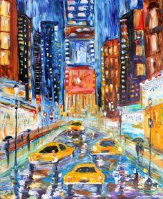Original oil painting Times Square New York on canvas Landscape palette knife modern texture fine art impressionism by Karen Tarlton