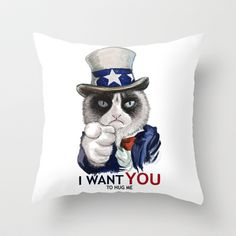 I WANT YOU Throw Pillow by Tummeow - $20.00