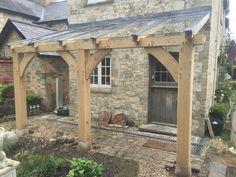 solid oak glass porch, structural oak frame, staddle stones, delivered and insta Garden Structures, Outdoor Structures, Glass Porch, Lean To Roof, Roof Structure, House Entrance, Solid Oak, Front Porch, Gazebo