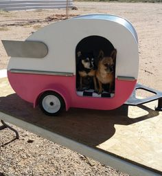 This cozy and retro trailer bed has actual working wheels, so you can move it around the house. | 41 Insanely Clever Products Your Dog Deserves To Own
