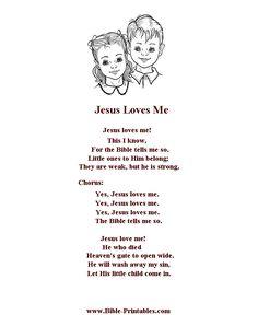 Bible Printables - Children's Songs and Lyrics - Jesus Loves Me Childrens Bible Songs, Bible Songs For Kids, Songs For Toddlers, Quotes For Kids, Quotes Children, Children Songs, Toddler Bible, Kindergarten Songs, Preschool Songs