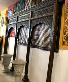 This is Really Beautiful antique Hand Carved crafted entrance wood welcome gate furniture that can be used as a floor wall mirror or a huge headboard. Arched Doors, Entrance Doors, Gate Furniture, Bohemian Tapestry, Main Door, Architectural Antiques, Hanging Pictures, Old World, Colorful Interiors