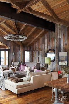 Rustic living room- would change out those couches for some cracked leather or at least a more comfortable style