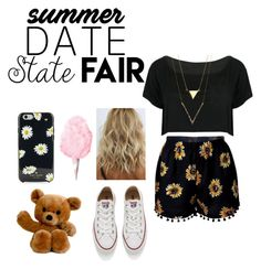 """""""Summer Date: State Fair"""" by ally8301 ❤ liked on Polyvore featuring WithChic, Converse, Kate Spade, statefair and summerdate"""