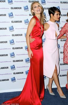 Good mood: The 28-year-old flashed a big smile as she joined Grace at the event...