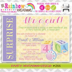 266 DIY Baby Blocks 2 Party Invitation Or by LilRbwKreations