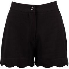 Boohoo Zita Scalloped Hem High Waisted Shorts | Boohoo ($14) ❤ liked on Polyvore featuring shorts, pants, short shorts, micro shorts, embellished shorts, mini shorts and high-rise shorts
