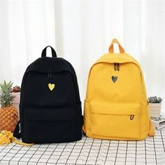 Backpack Women Canvas Travel Bookbag School Bag Laptop Rucksack for Teenage Girl - Ideas of Canvas Backpack Day Backpacks, School Backpacks, Canvas Backpack, Backpack Purse, Travel Backpack, Black Backpack School, Satchel, Crossbody Bag, Accesorios Casual