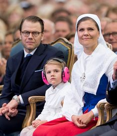 Crown Princess Victoria of Sweden and Prince Daniel Duke of Vastergotland with Princess Estelle of Sweden attend a concert at the 39th birthday...