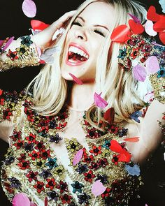"""""""""""Celebration"""" @kylieminogue in @blumarine for the Kylie calendar photo by @willybboy6127 hair and make up by @mrvermaak styled by me"""""""