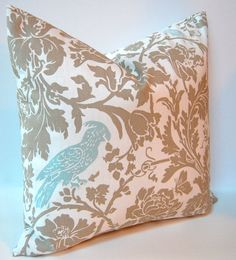 Decorative Throw Pillow Covers 20 x 20 Inches - Taupe and White with Aqua Bird Accent. $34.00, via Etsy.