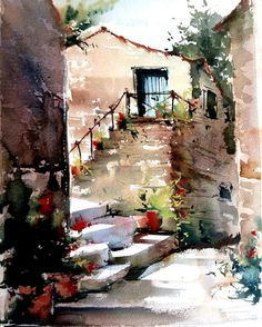 46 Ideas for painting art landscape watercolor techniques Watercolor Scenery, Watercolor Painting Techniques, Watercolor Pictures, Watercolor Landscape Paintings, Landscape Drawings, Watercolor Sketch, Watercolor Artists, Watercolor Illustration, Watercolour Painting