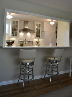 4 Respected Tips AND Tricks: Kitchen Remodel Wood Countertops kitchen remodel pantry stove.Small Apartment Kitchen Remodel new kitchen remodel ideas.Farmhouse Kitchen Remodel Before After. Kitchen Pass, Galley Kitchen Design, Galley Kitchen Remodel, Galley Kitchens, Kitchen Redo, Living Room Kitchen, New Kitchen, Home Kitchens, Kitchen Cabinets