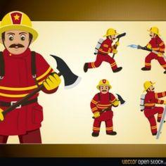 Dibujos animados bombero con una manguera de fuego con extintor
