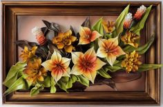 Leather Flowers Wall Art www.makmarketplace.com Sku:DBKK7-8AG Leather Flowers Wall Art Decor... Leather Flowers Size: (73cm x 49cm) Frame: Solid Wood, Stained Colors: Yellow,Green, Grey,Gold,White,Brown,Rust Color Material: Genuine Leather