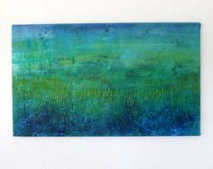 Abstract Landscape Painting / Green Blue Sea Grass Ocean Original Painting