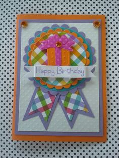 Handmade birthday card by dalayney from chucklesandcharms on etsy. Dry embossed present using doodlebug fruit stand paper line.