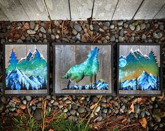 """ Pictured from left to right beginning with ""Shooting Star"" (left ""Calling"" (middle and ""Moonlight"" (right Reclaimed Wood Wall Art, Wood Art, Pour Painting, Painting On Wood, Transfer Images To Wood, 3d Laser Printer, Bark At The Moon, Moon Setting, Laser Art"
