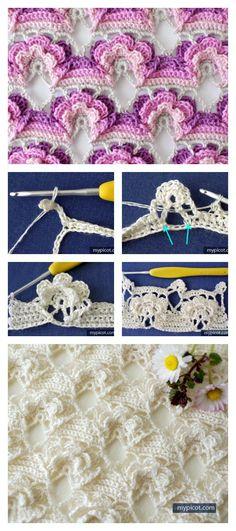 Crochet 3D Flower Stitch Free Pattern