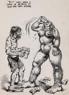 Robert R. Crumb - Unpublished Whiteman Meets Bigfoot Illustration Original Art (1977)
