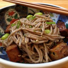 Since the Japan Night dinner was in the middle of a heat wave, we decided to make a cold soba noodle salad with baked tofu and edamame fo. Edamame Noodles, Soba Noodles, Asian Recipes, Healthy Recipes, Ethnic Recipes, Fun Recipes, Sushi Go, Cold Soba, Tofu Salad