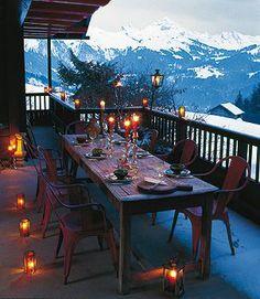The Little Winter Cabin on Hoot Owl Hill Outdoor Tables, Outdoor Spaces, Outdoor Living, Outdoor Decor, Winter Balkon, Mountain Living, Mountain View, Outdoor Dinner Parties, Winter Cabin