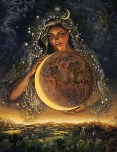 Moon Goddess: Draped in her glimmering veil of stars, the Goddess Selene tenderly guides the moon on its celestial journey, keeping watch over the night-bathed earth. Her face is lit by the gentle glow of moonbeams from the heavens and by the profound power of her own inner peace and love for mankind.