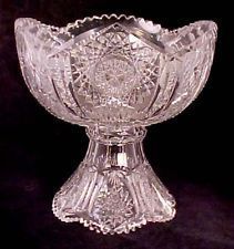 Large Two-piece Brilliant Cut Glass Crystal Punch Bowl Pedestal 12  29495