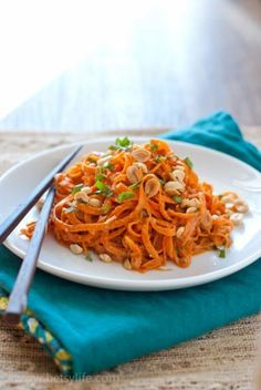 Raw Carrot Spiraled Noodles with Peanut Sauce. A healthy and light recipe with unexpected flavors. A great way to use that veggie spiralizer