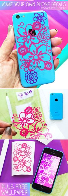 Make your own iPhone decal with Cricut and art by Jen Goode
