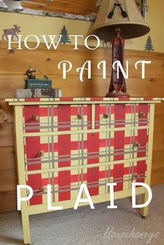 how to paint a plaid pattern on furniture, painted furniture Furniture Plans, Furniture Makeover, Furniture Refinishing, Diy Furniture, Unusual Furniture, Chair Makeover, Handmade Furniture, Luxury Furniture, Diy Home Crafts