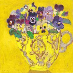 Andrea Letterie, Violen en geel kopje, Gemengde techniek op paneel, 18x18 cm, €.225,-