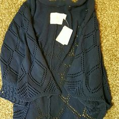 Anthropologie  navy blue cape Navy open weave cape with arm holes. Nwt Anthropologie Sweaters