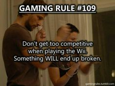 This is why we have wrist straps. Only play Wii with your best friends. Siblings get way out of hand. Video Game Logic, Video Games Funny, Funny Games, Tech Humor, Gamer Humor, Funny Humor, Geek Games, Pc Games, Computer Humor