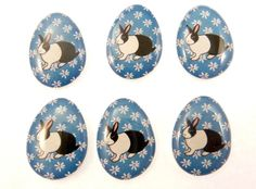6 NO HOLE Easter Egg Shaped Rabbit Glue On by buttonsbyrobin3