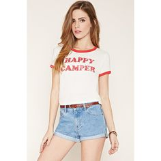 Forever 21 Women's  Happy Camper Ringer Tee ($11) ❤ liked on Polyvore featuring tops, t-shirts, graphic crop tops, white tee, white crop top, crop top and white cotton t shirts