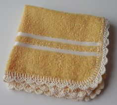 Dish Cloths - Yellow - With Crochet Edging