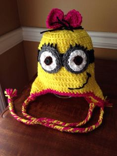 Minion Inspired Hat with Braided Ties (Made To Order) on Etsy, $25.00