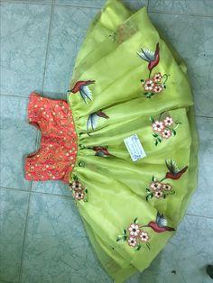Sudhasri hemaswardrobe Girls Frock Design, Kids Frocks Design, Baby Dress Design, Kids Dress Wear, Kids Gown, Little Girl Dresses, Kids Blouse Designs, Baby Girl Dress Patterns, Kids Lehenga