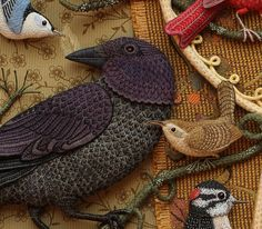 Salley Mavor, embroidery goddess, created Birds of Beebe Woods, shown here in closeup, and now available as a 18 x 24 Poster in her Etsy shop.