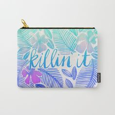 Killin' It – Turquoise + Lavender Ombré by Cat Coquillette @society6 #fashion #style #women #men #cosmetics #studio #pencil #pouch #blue #watercolor #killinit #pink #phrase #quote #word #look #products #chic #fashion #style #gift #idea #society6 #design #shop #shopping #buy #sale #fun #accessory #accessories #art #contemporary #cool #hip #awesome  #sweet
