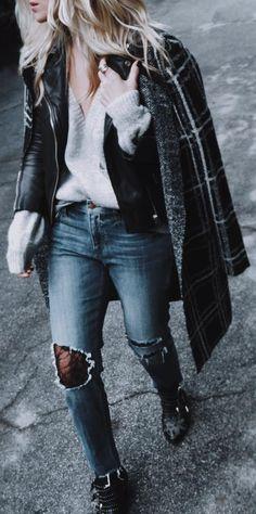#winter #fashion /  Printed Coat + Cream V-neck Knit