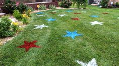 Wow your guests with this elaborate project that will only take you 30 minutes to complete. Cut out star shapes from old cardboard and use red, white, and blue construction marking spray paint. Get the tutorial at The Concrete Cottage.