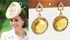 Kate Middleton Genuine Citrine Pave Earrings by DBakerJewelry