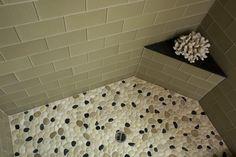 Island Stone Rectangular Beach Glass with Pebble floor - modern - bathroom tile - other metro - Island Stone